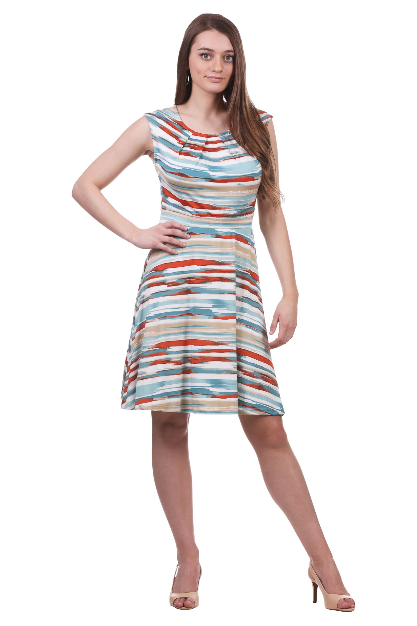 Women's Pleated Neckline Fit and Flare Dress | Printed A-Line | Neesha