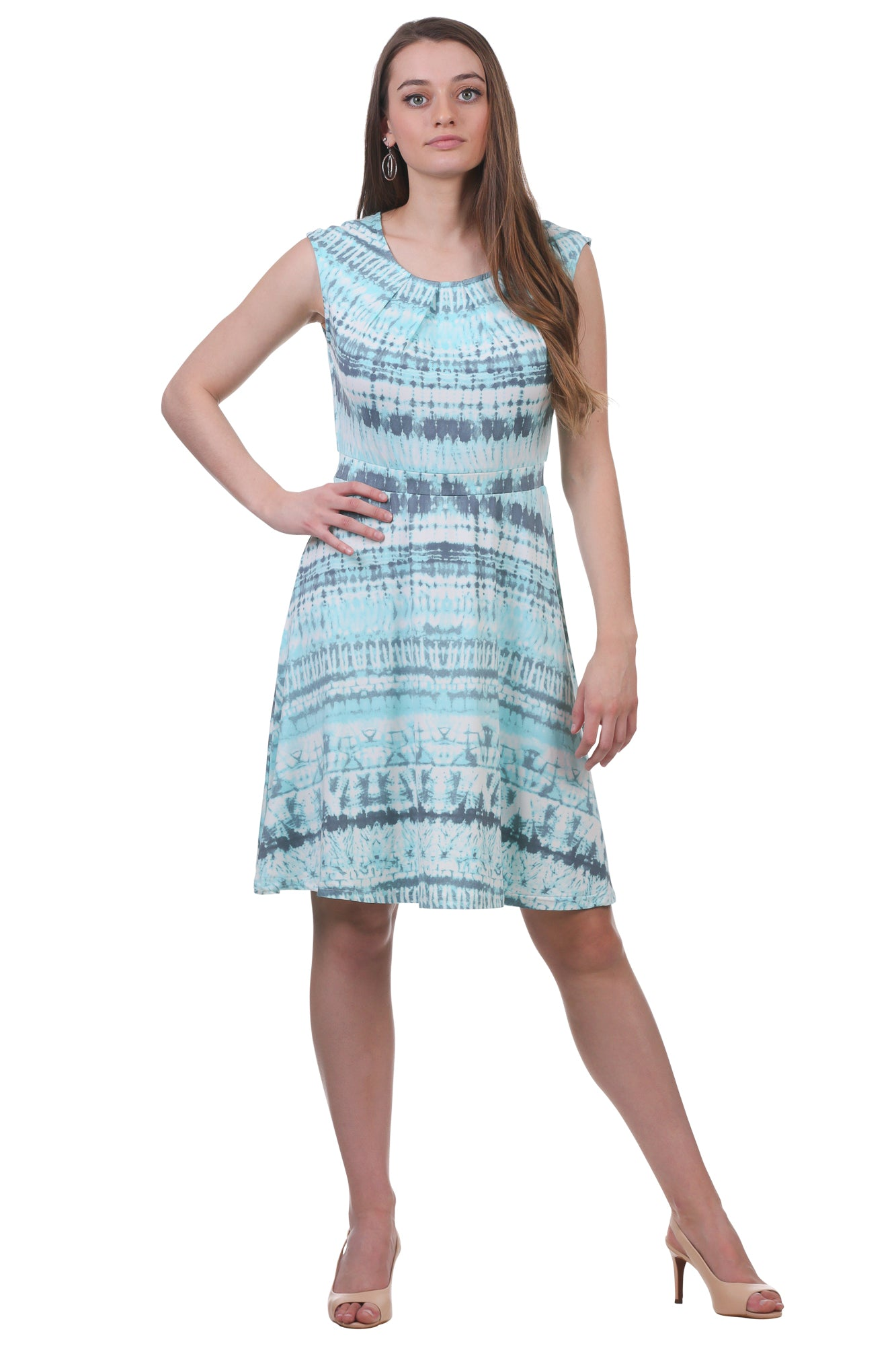 Pleated Neckline Fit and Flare Dress | Teal Printed Dress | Neesha