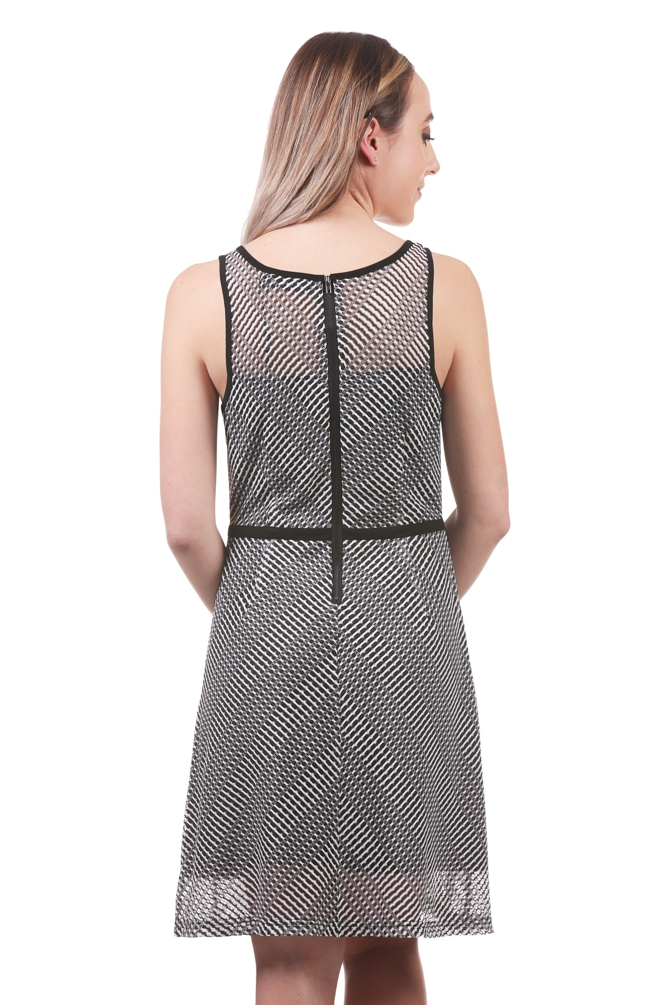 Womens Striped Mesh Fit and Flare Dress with Trim and Pockets | Neesha