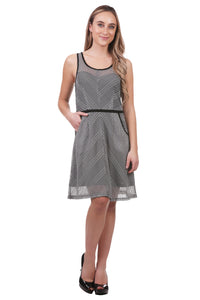 Striped Mesh Fit and Flare Dress with Trim and Pockets