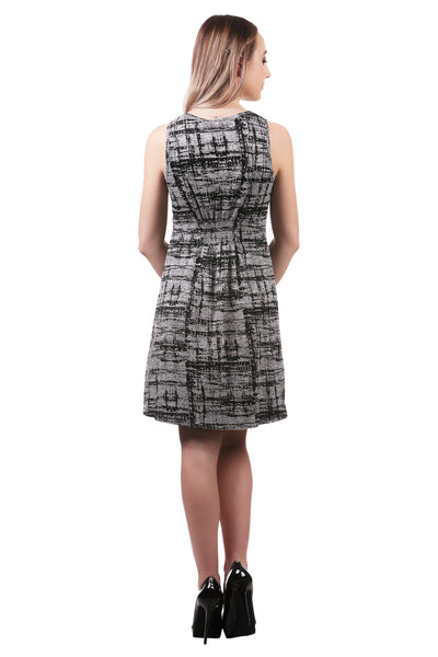 Women's Burnout Smocked Button Dress | Grey A-Line Dress | Neesha
