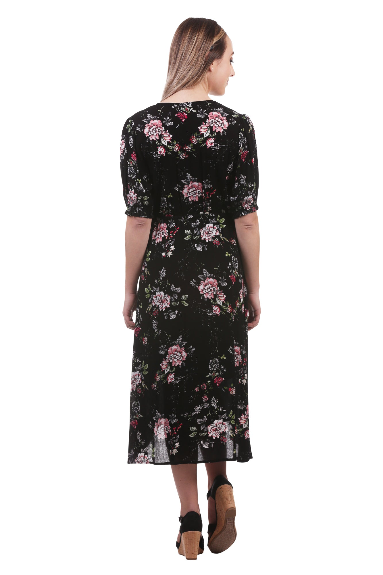 Floral Faux Wrap Dress with Buttons in Black