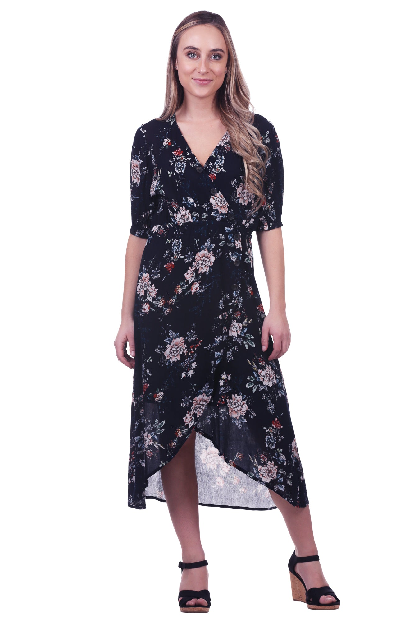 Floral Faux Wrap Dress with Buttons in Navy