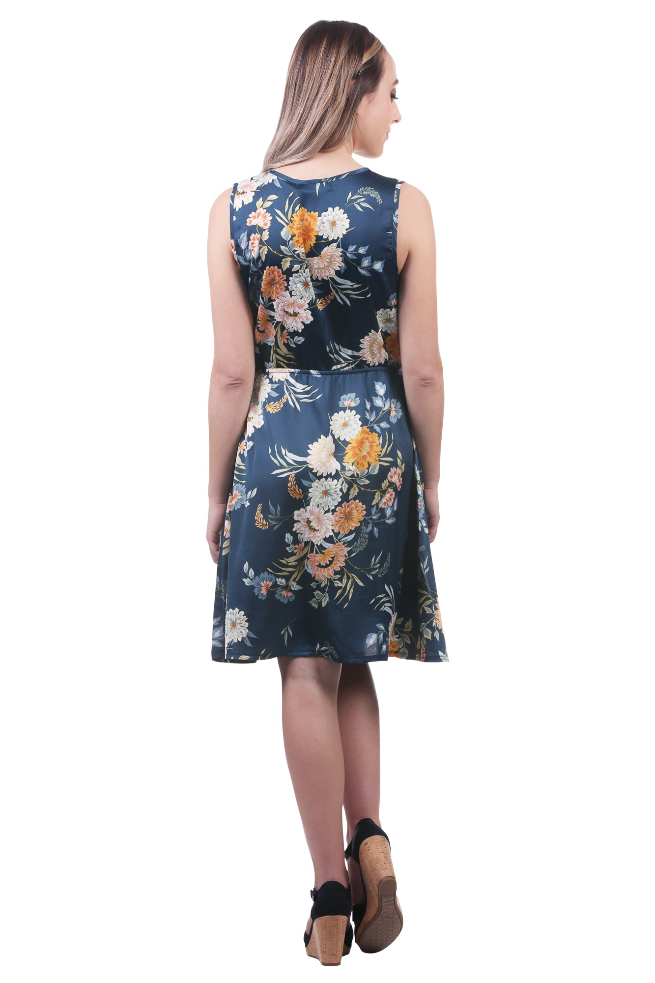Floral Satin V-Neck Button Dress