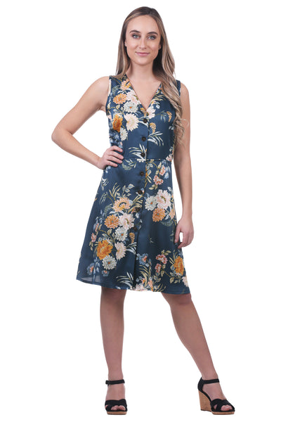 Women's Navy and Green Floral Satin V-Neck Button Dress | Neesha