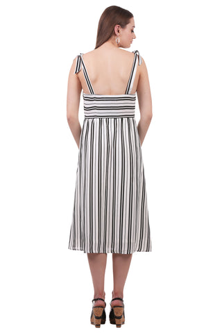 Striped Midi Dress with Ties and Pockets | Black White Dress with Pockets