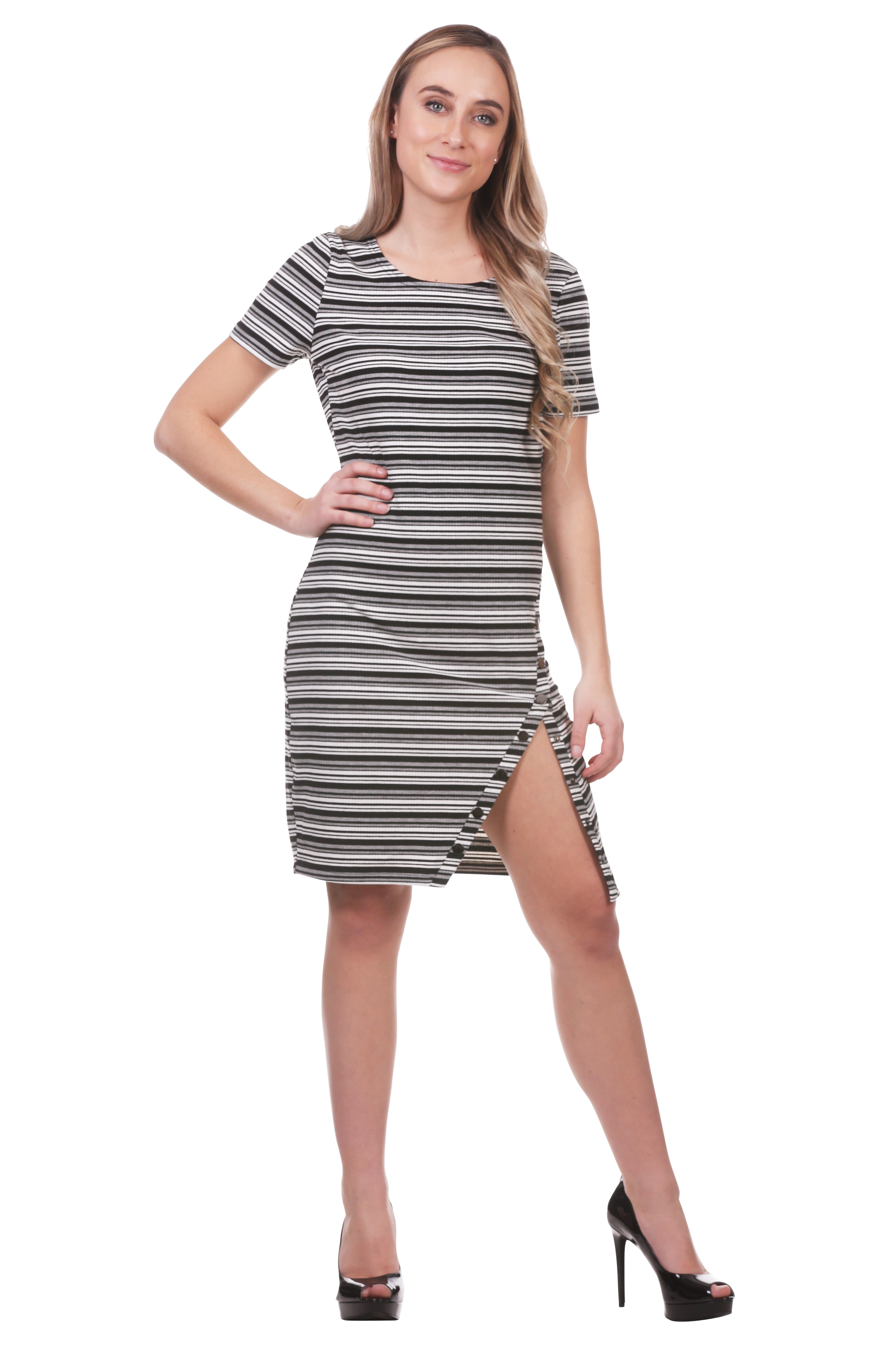 Striped Rib Knit Slit Dress with Snaps