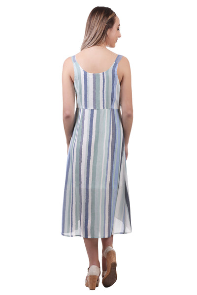 Women's Striped Tie Bodice Dress | Wrap Dress with Tie Waist | Neesha