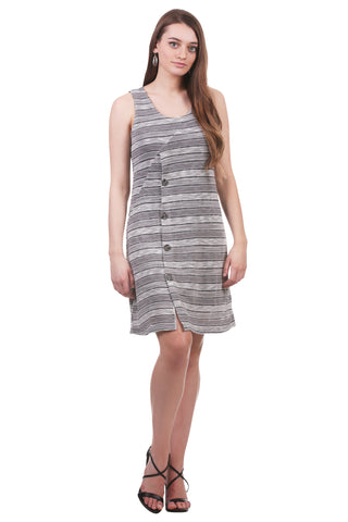 Grey Striped Button Dress | Smocked Dress | Forgiving Fit | Neesha