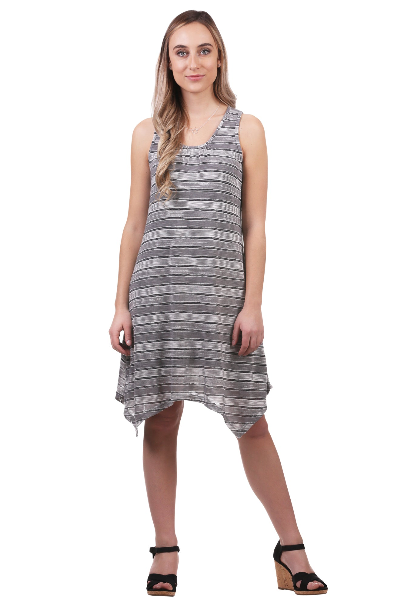 Women's Striped Handkerchief Hem Swing Dress | Grey & Blue | Neesha