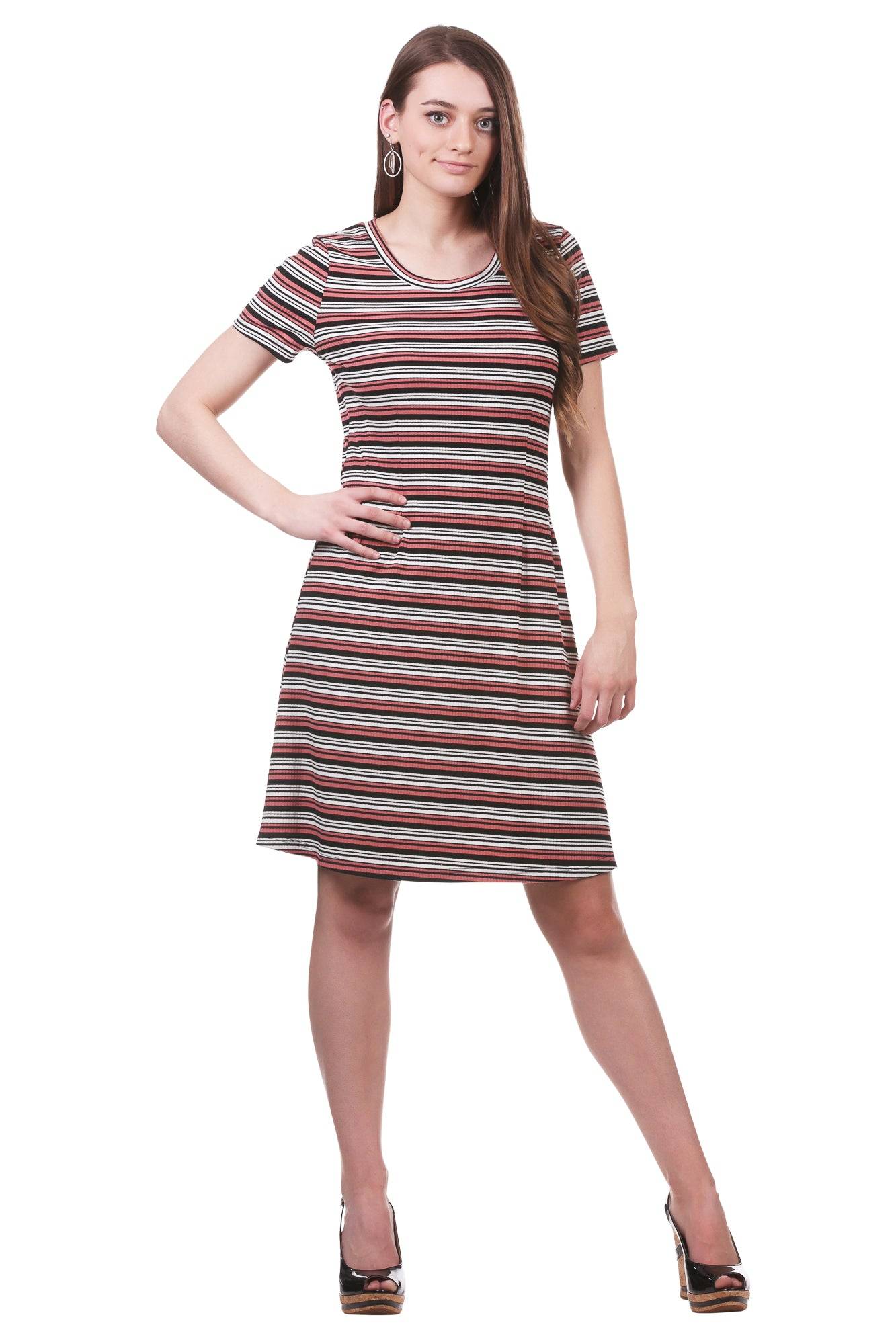 Women's Striped Rib Knit Tee Dress | Grey and Salmon Stripes | Neesha
