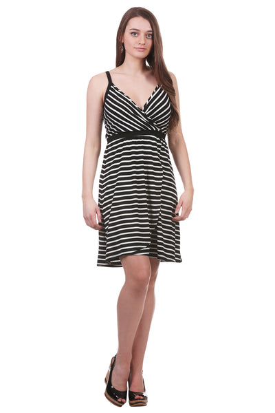 Striped Cross Over Dress with Elastic Waistband | Black Dress