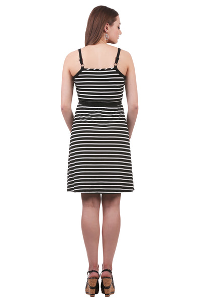 Striped Cross Over Dress with Elastic Waistband