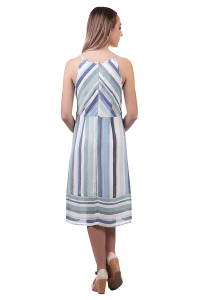 Striped Panel Midi Dress with Spaghetti Straps