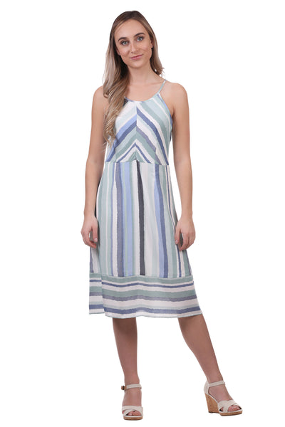Women's Striped Panel Midi Dress with Spaghetti Straps | Blue Striped