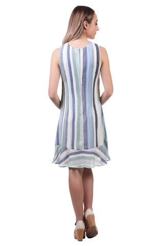 Striped A-Line Dress with Ruffle