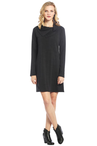 Sweater Dress with Double Split Cowl Neck