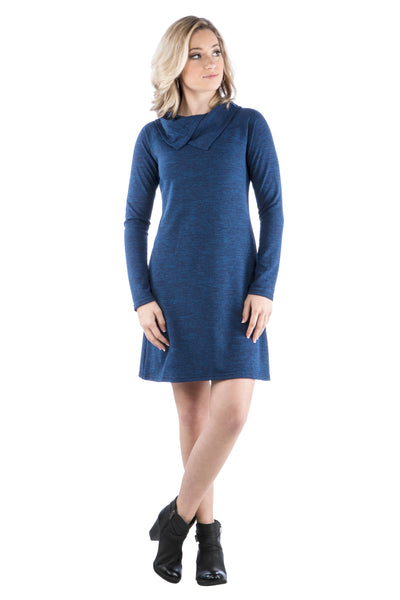 Sweater Dress with Double Split Cowl Neck - Blue Dress