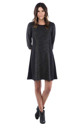 Fit and Flare Color Block Sweater Dress, Little Black Dress, LBD