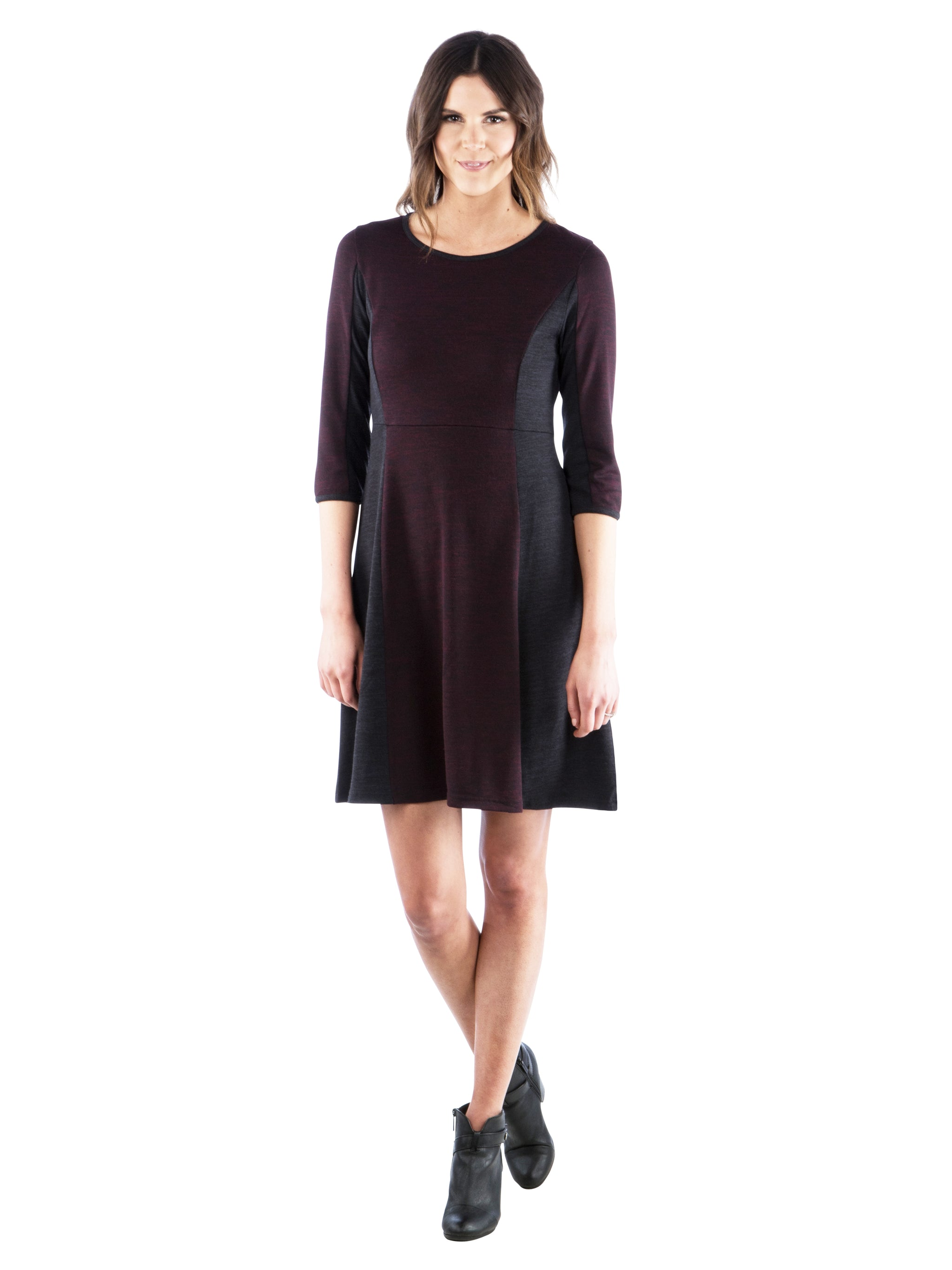 Fit and Flare Color Block Sweater Dress, Black/Maroon, LBD