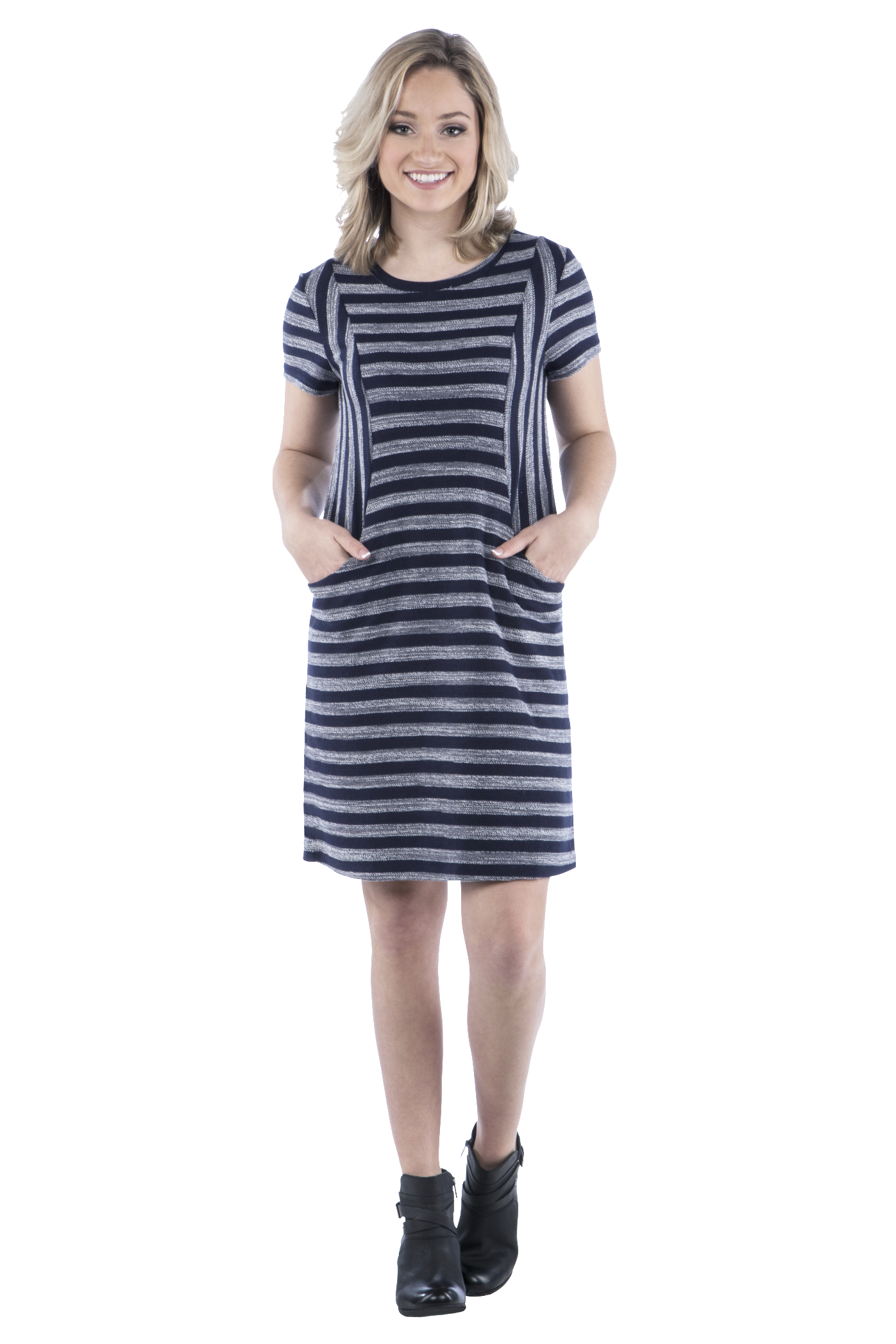 Terry Striped Panel Dress