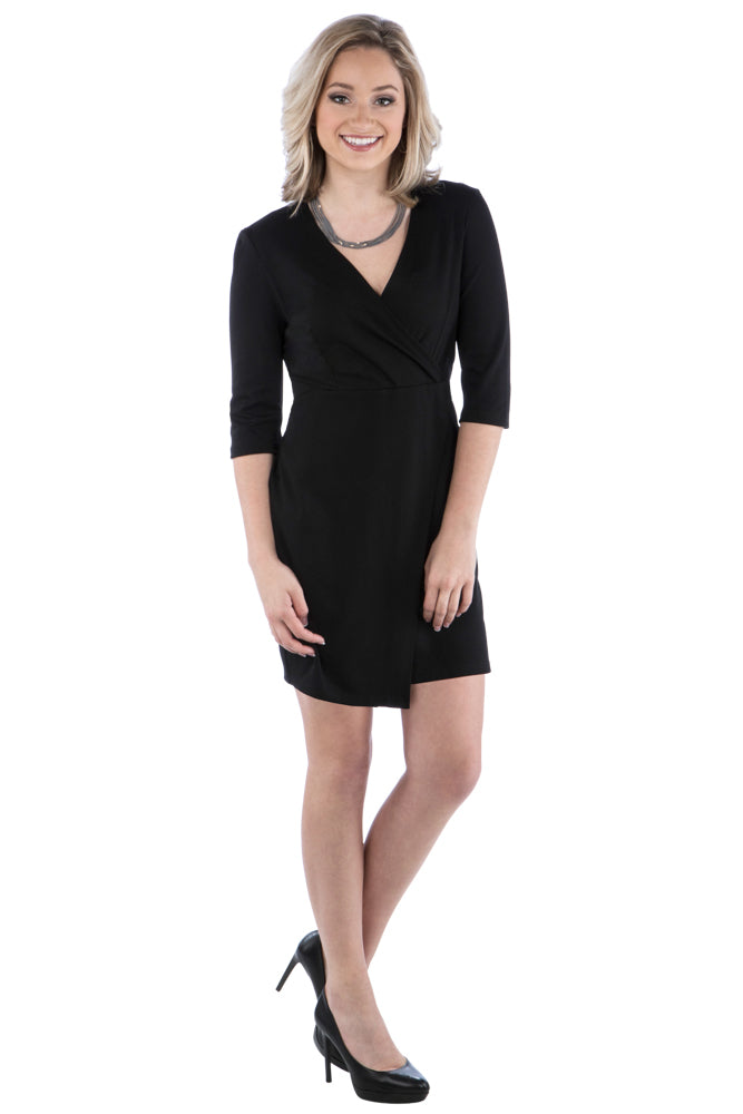 Faux Wrap Dress with 3/4 Length Sleeves - Little Black Dress - LBD - Winter Dress