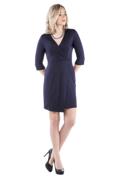 Faux Wrap Dress with 3/4 Length Sleeves - Navy Dress - Winter Dress