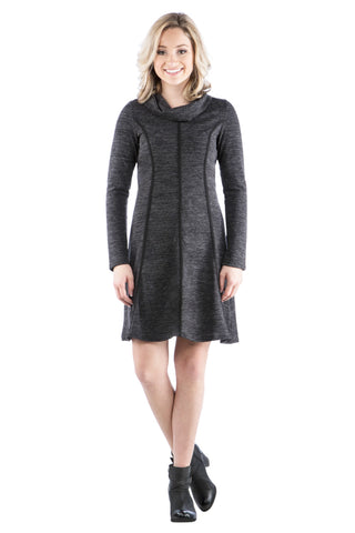 Sweater Dress with Trim and Cowl Neck, Charcoal Dress, Black Dress