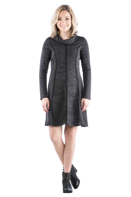 Cowl Neck Panel Dress w/ Trim