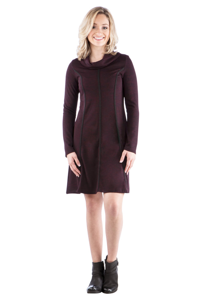 Sweater Dress with Trim and Cowl Neck, Maroon
