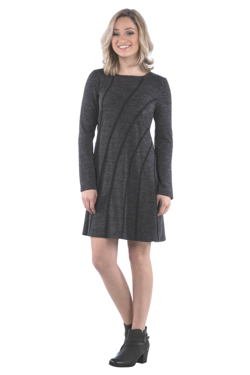 Diagonal Trim Sweater Dress with Long Sleeves