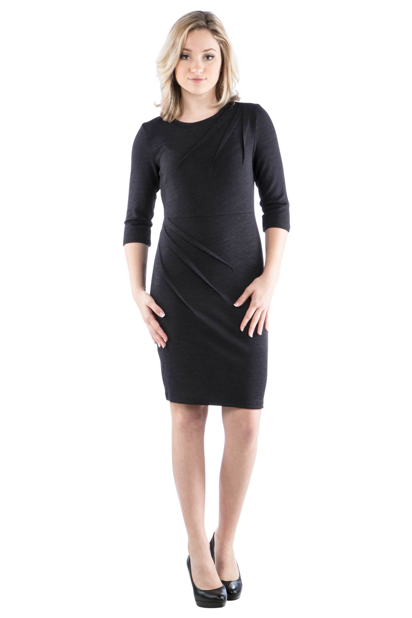Sweater Dress with Diagonal Pleating Details
