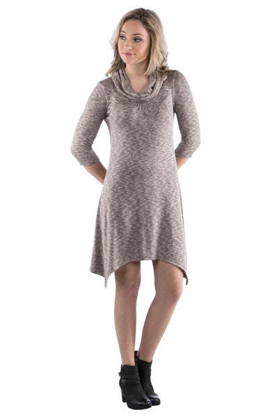 Cowl Neck Sweater Dress with Irregular Handkerchief Hem, Brown