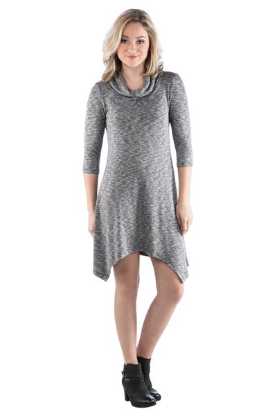 Cowl Neck Sweater Dress with Irregular Handkerchief Hem, Grey