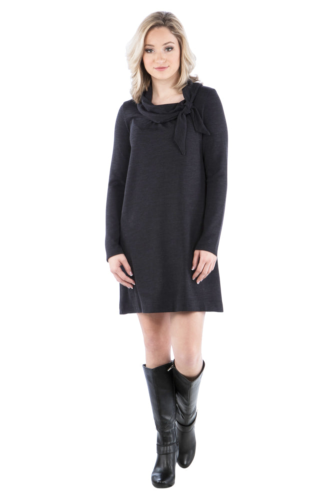 Tie Cowl Neckline Dress