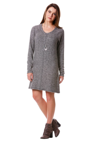 Cozy Cover Stitch Sweater Dress-Charcoal