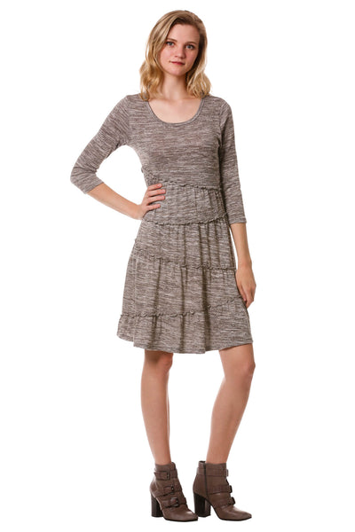 Women's Grey Asymmetrical Tiered Dress | Fall - Winter Dress | Neesha