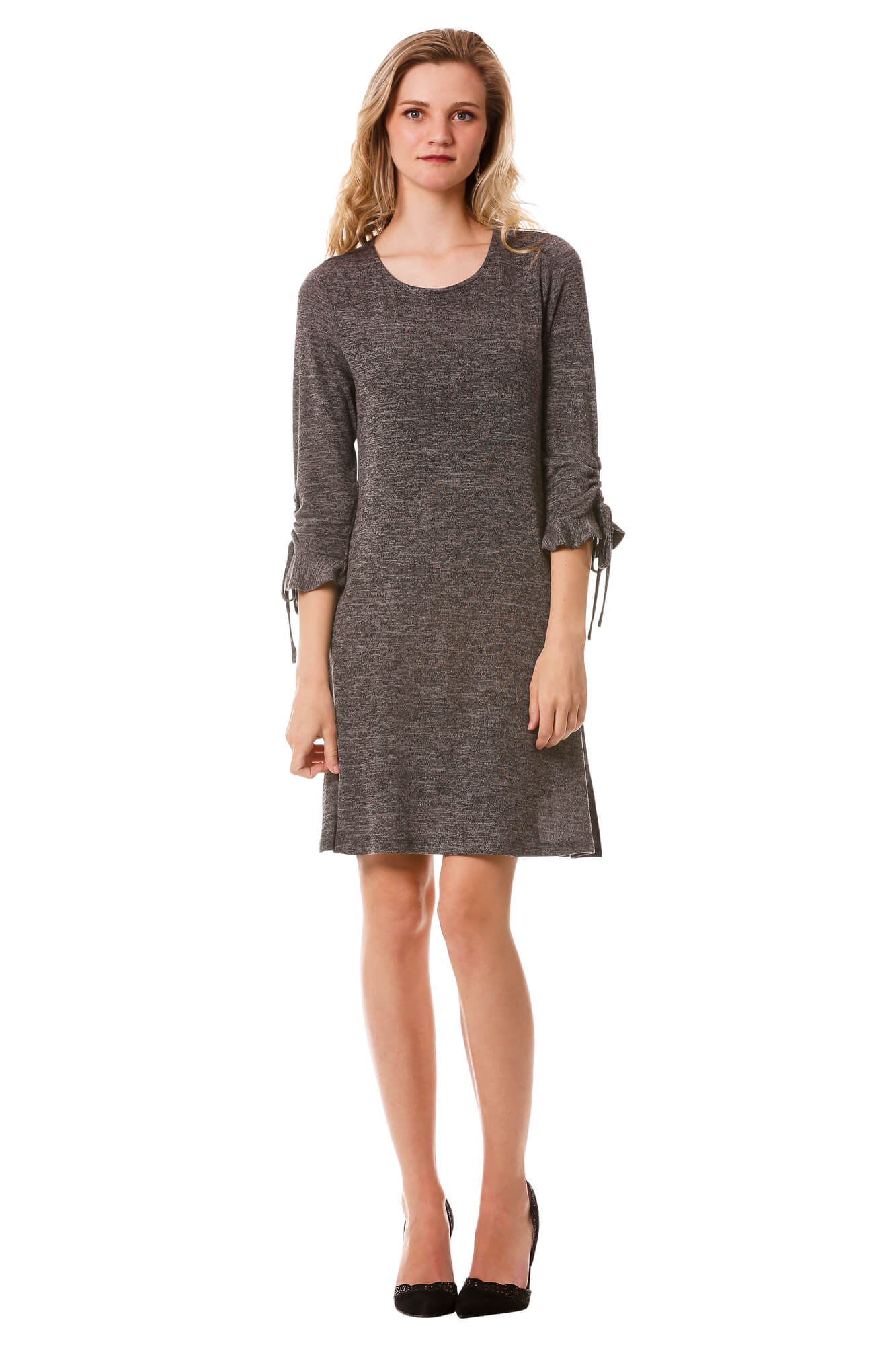 Women's Dark Grey Ruffle Bell Sleeve Sweater Dress | 3/4 Sleeve Dress | Neesha