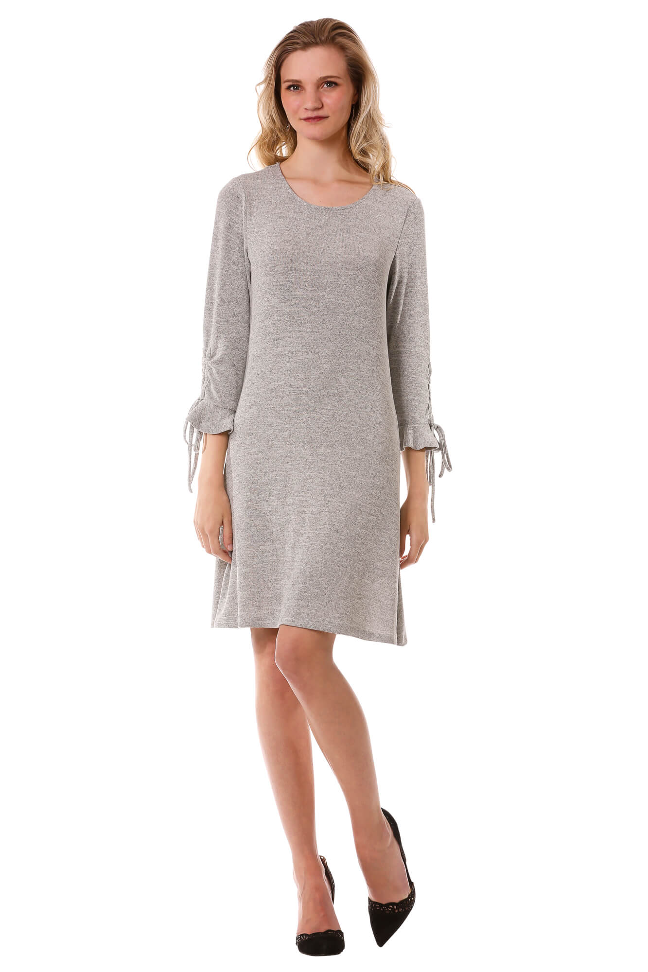 Women's Light Grey Ruffle Bell Sleeve Sweater Dress | 3/4 Sleeve Dress | Neesha