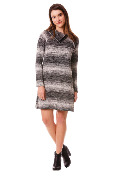 Women's Striped Split Cowl Zipper Dress | Long Sleeve forFall | Neesha