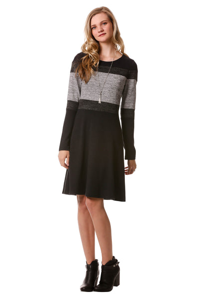 Horizontal Color Block Dress-Black
