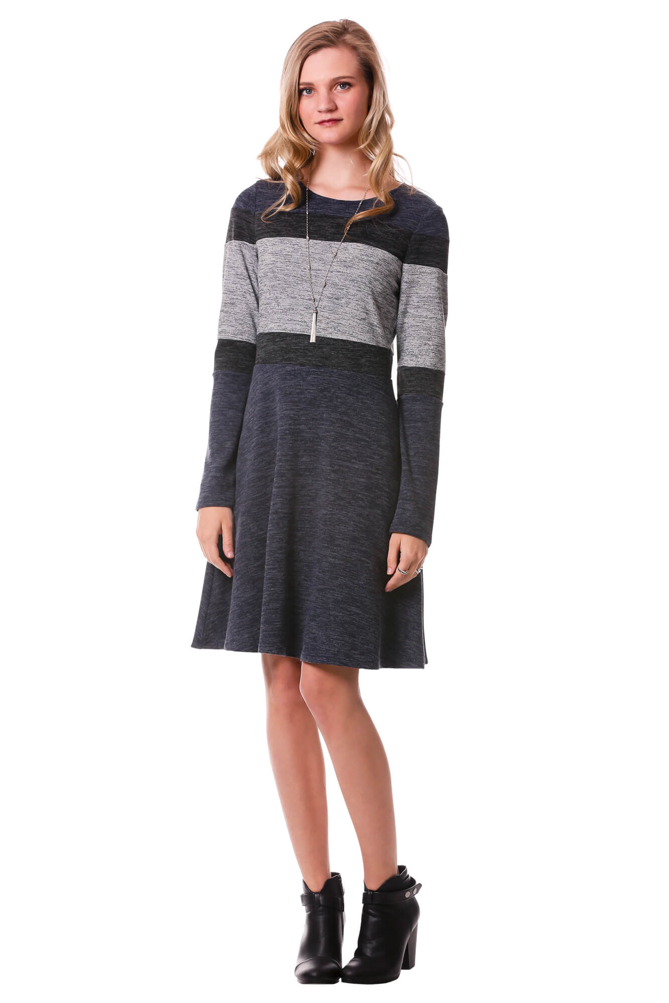 Horizontal Color Block Dress-Navy