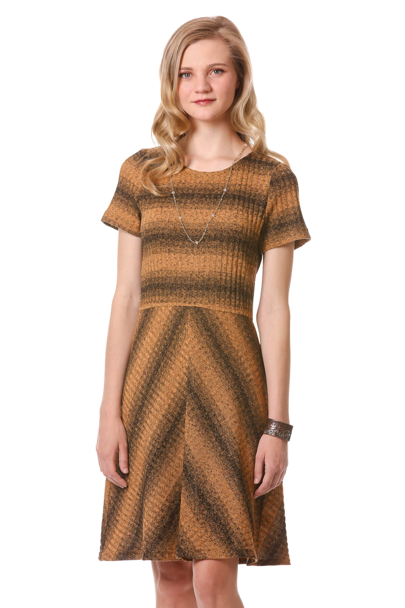 Gold and Black Striped Rib Knit Dress | Fit and Flare Dress | Neesha