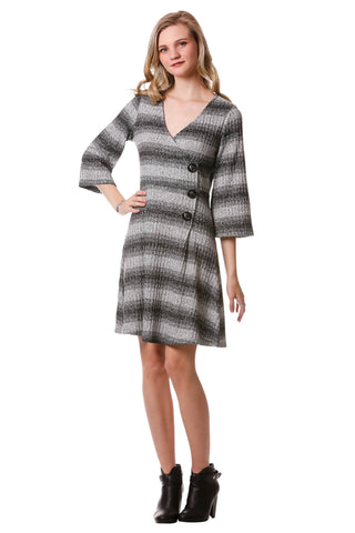 Women's Grey and Black Striped Rib Knit Faux Wrap Dress with Bell Sleeves | Neesha