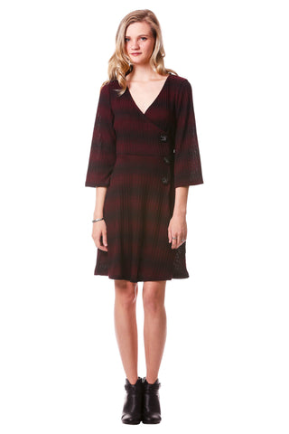 Women's Maroon and Black Striped Rib Knit Faux Wrap Dress with Bell Sleeves | Neesha