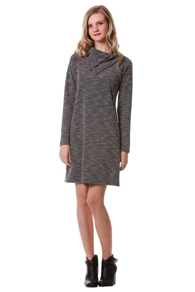 Women's Black Double Split Cowl Neck Sweater Dress | Neesha