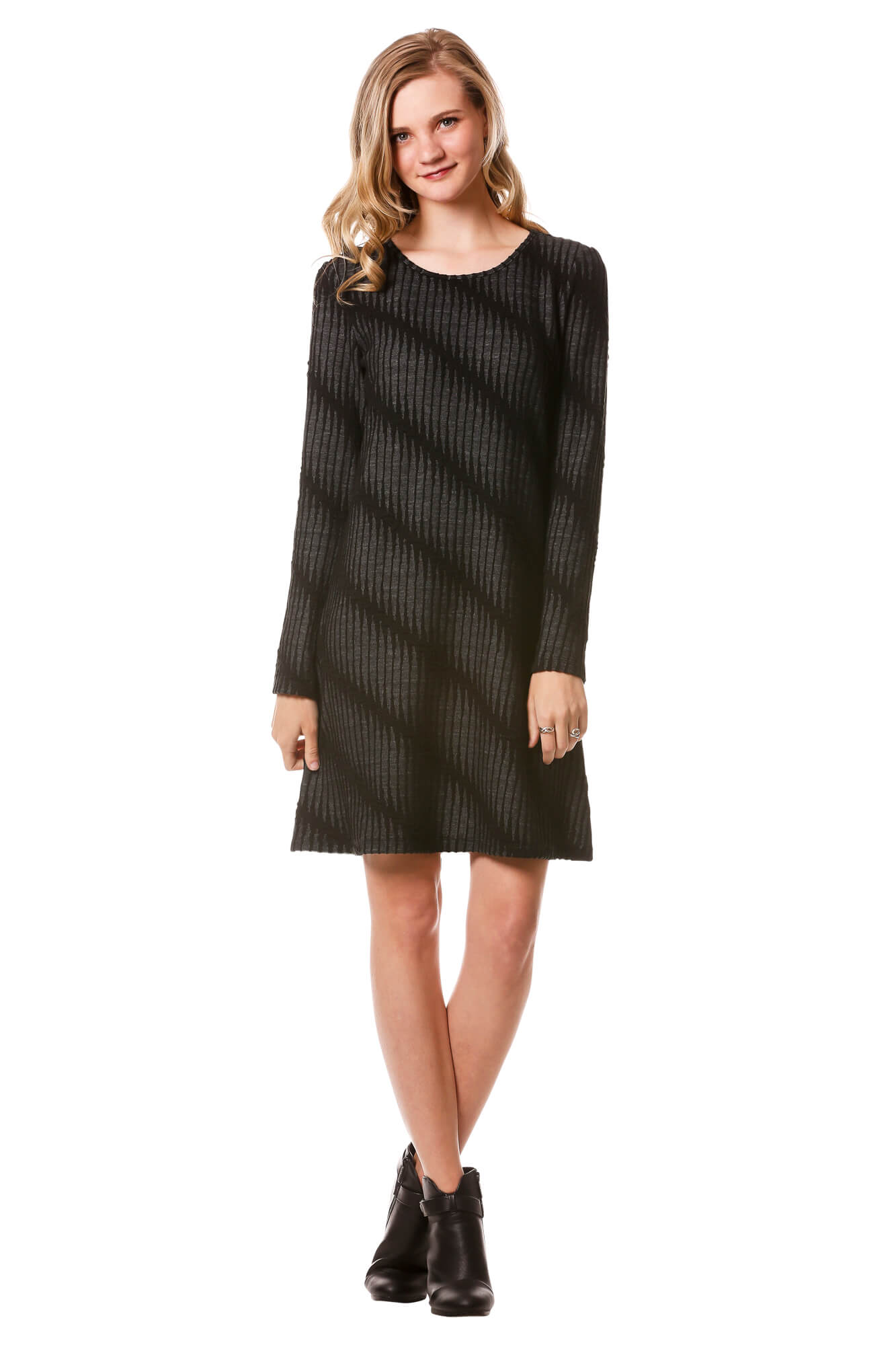 Women's Jacquard Textured A-Line Dress with Diagonal Stripes | Neesha