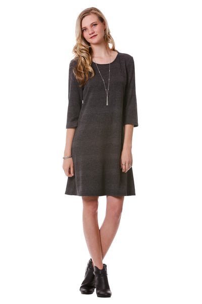 Women's Dark Grey Textured Striped A-Line Dress | Sweater Dress Neesha