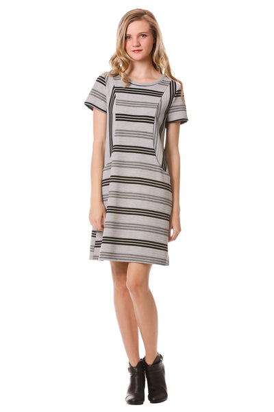 Striped Panel Dress with Pockets-Grey/Black