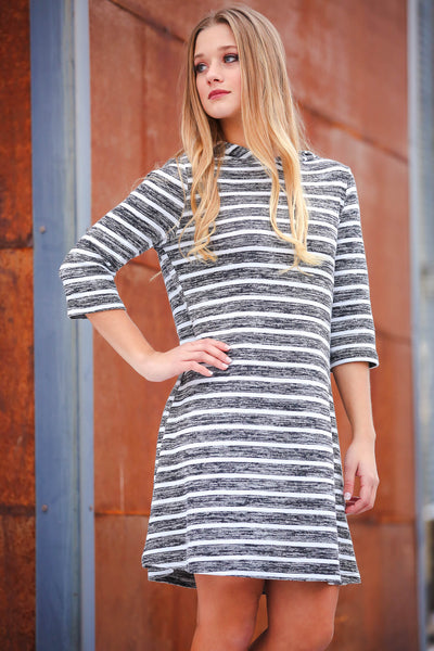 Grey and White Striped Hoodie Sweater Dress | Neesha Fashion